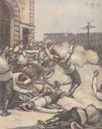 La tribuna illustrata. Anno XIV, n. 27, 8 luglio 1906. Fronte: I Sovrani ad Ancona, la prima pietra dell'Ospedale Umberto I. Retro: L'efferato assassinio...