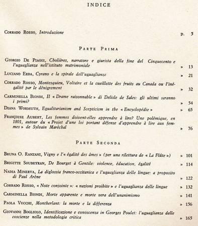 Studi sull'uguaglianza. Contributi alla storia e alla tipologia critica di un'idea nell'area francese