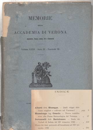 Memorie della Accademia di Verona (Agricoltura, Scienze, Lettere, Arti e Commercio). Volume LXXII - Serie III - Fascicolo III