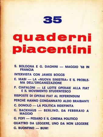 Quaderni piacentini, anno VII, n. 35, luglio 1968