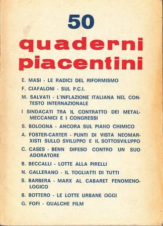 Quaderni piacentini, anno XII, n. 50, luglio 1973