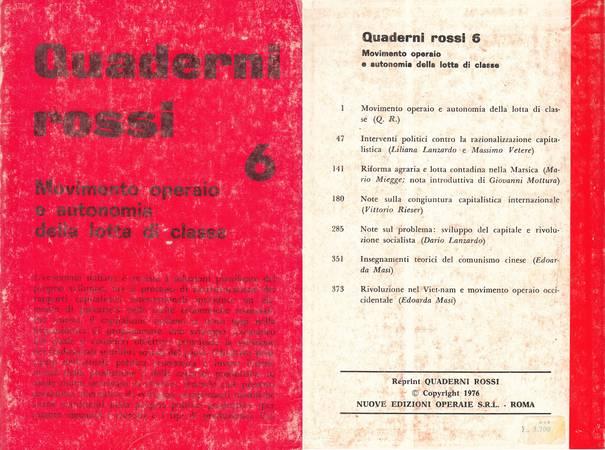 Quaderni rossi 6. Movimento operaio e autonomia della lotta di classe [Reprint]