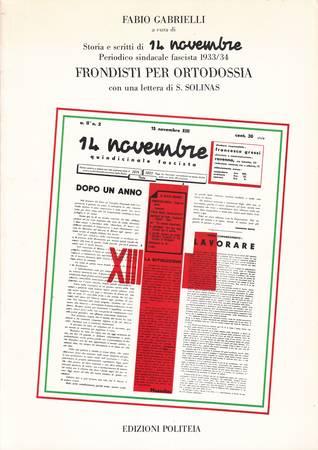 14 novembre. Quindicinale sindacale fascista 1933-1934. Storia e scritti